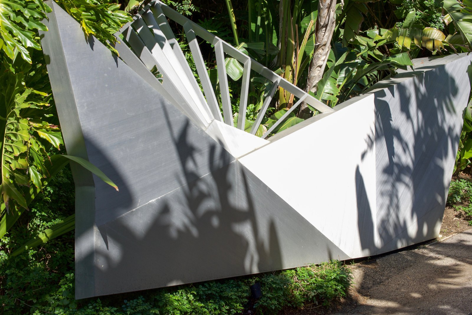 The long stroll down the driveway is lined with angular pieces of metalwork, like the one shown here.