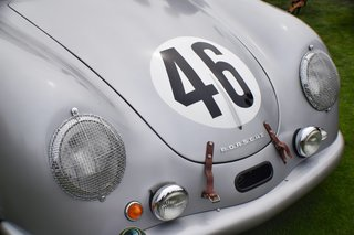 A Day at the Pebble Beach Concours d'Elegance Car Show - Photo 3 of 9 - Coming from Portland, Oregon, this Porsche 356 SL Coupe was one of only four cars that were prepared for the 24 Hours of le Mans race in 1951. It was the only one that made it to the race without crashing. Though it finished 20th overall, it won first in its class (1100 cc), which became Porsche's first win in an international race and marked the beginning of its extended connection to international endurance racing.
