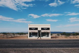 A Collision of Art, Architecture, and Fashion in Marfa - Photo 1 of 1 - After being recovered from its fair share of vandalism, Prada Marfa has become a permanent part of the Texas landscape. Though the structure lacks a real door, the two large windows are filled with actual shoes and bags by Prada.