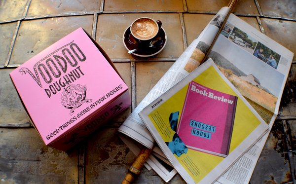 Voodoo Doughnut's recognizable pink boxes are famous throughout Portland. You can fill them with wacky doughnut creations and enjoy them alongside a fresh coffee from Stumptown's post within the Ace Hotel. We brought them both back to the lobby to enjoy along with their selection of magazines and newspapers.