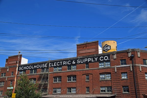 All of the furniture, lighting, and hardware is made upstairs in Schoolhouse Electric &  Supply Co.'s factory.