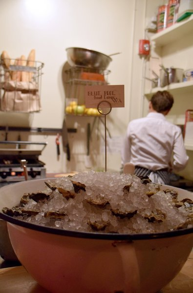 The bar serves a daily selection of oysters along with a champagne mignonette and horseradish.