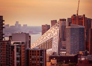 """A Pyramid Rises in the Middle of Manhattan - Photo 2 of 2 - #via57west<span> <a href=""""/discover/manhattanskyline"""">#manhattanskyline</a></span><span> <a href=""""/discover/bjarkeingelsgroup"""">#bjarkeingelsgroup</a></span>"""
