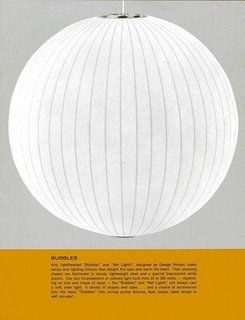 "Everything You Need to Know About 6 of Our Favorite George Nelson Pieces - Photo 2 of 2 - This archival advertisement features George Nelson's Ball Pendant Light. The beginning of the caption reads: ""Airy, lighthearted 'Bubbles' and 'Net Lights,' designed by George Nelson, make lamps and lighting fixtures that delight the eyes and warm the heart. Their pleasing shapes are fashioned in sturdy, lightweight steel and a special translucent white plastic."""