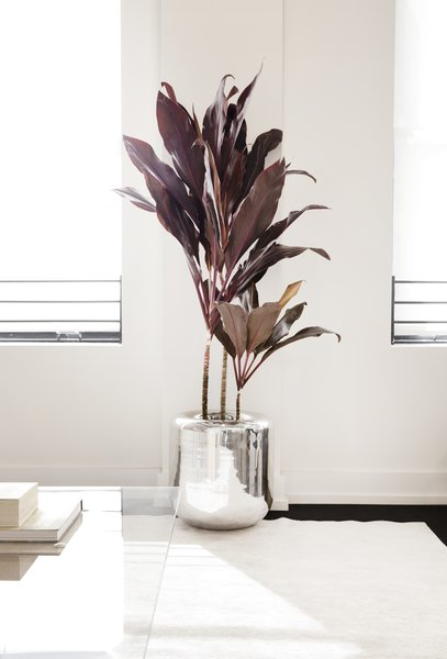 Also in the lounge/waiting area sits rounded metal planters that are part of Early Work's product line. Throughout the space are versions in both a high polished mirror finish (shown here) and a textured powder-coated finish.
