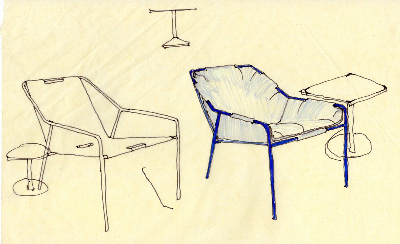 The outdoor seating line is one of their favorite parts of the collection. Nick pointed out that Chris penned the designs himself and that the final results are amazingly comfortable—especially for being so affordable. They took posture into consideration when designing the chairs, including the Outdoor Lounge Chairs, which are shown in a sketch here—with and without cushions.