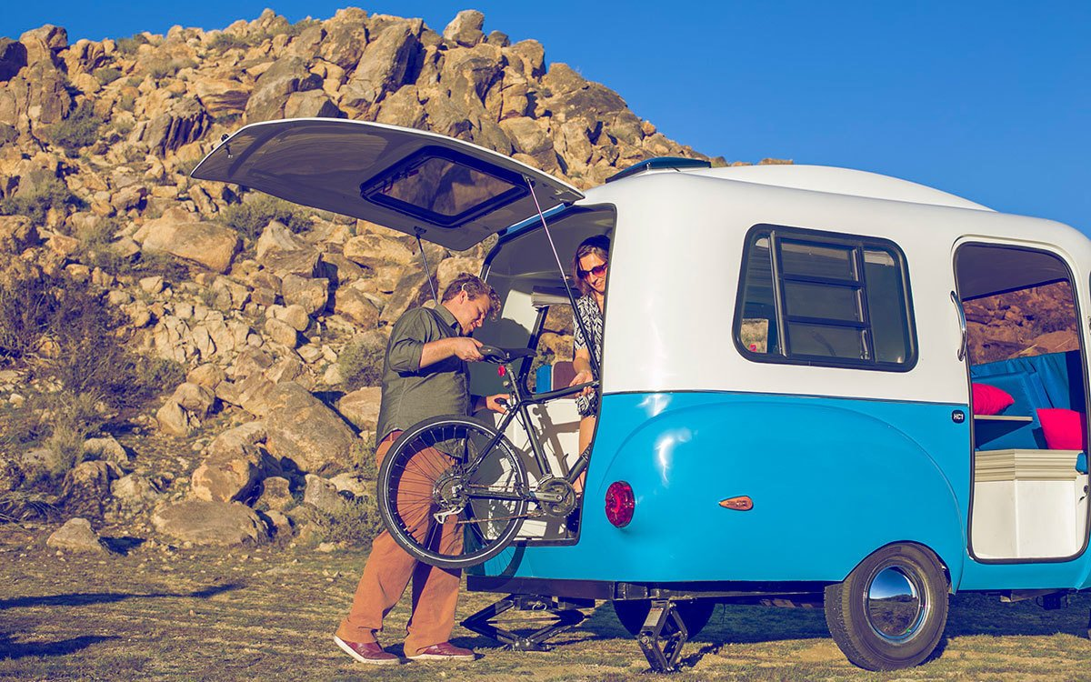 A large rear hatch allows you wheel in your bicycle, motorcycle, or rafting gear. Tagged: Exterior and Camper Building Type.  Photo 7 of 8 in This California–Made Camper Is All You Need to Get Your Adventures Going