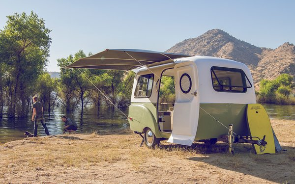 The camper is equipped with marine-quality parts and accessories that have been personally tested by the Happier Camper team. Tagged: Exterior and Camper Building Type.  Photo 4 of 10 in 10 Tiny Trailers to Take on an Adventure