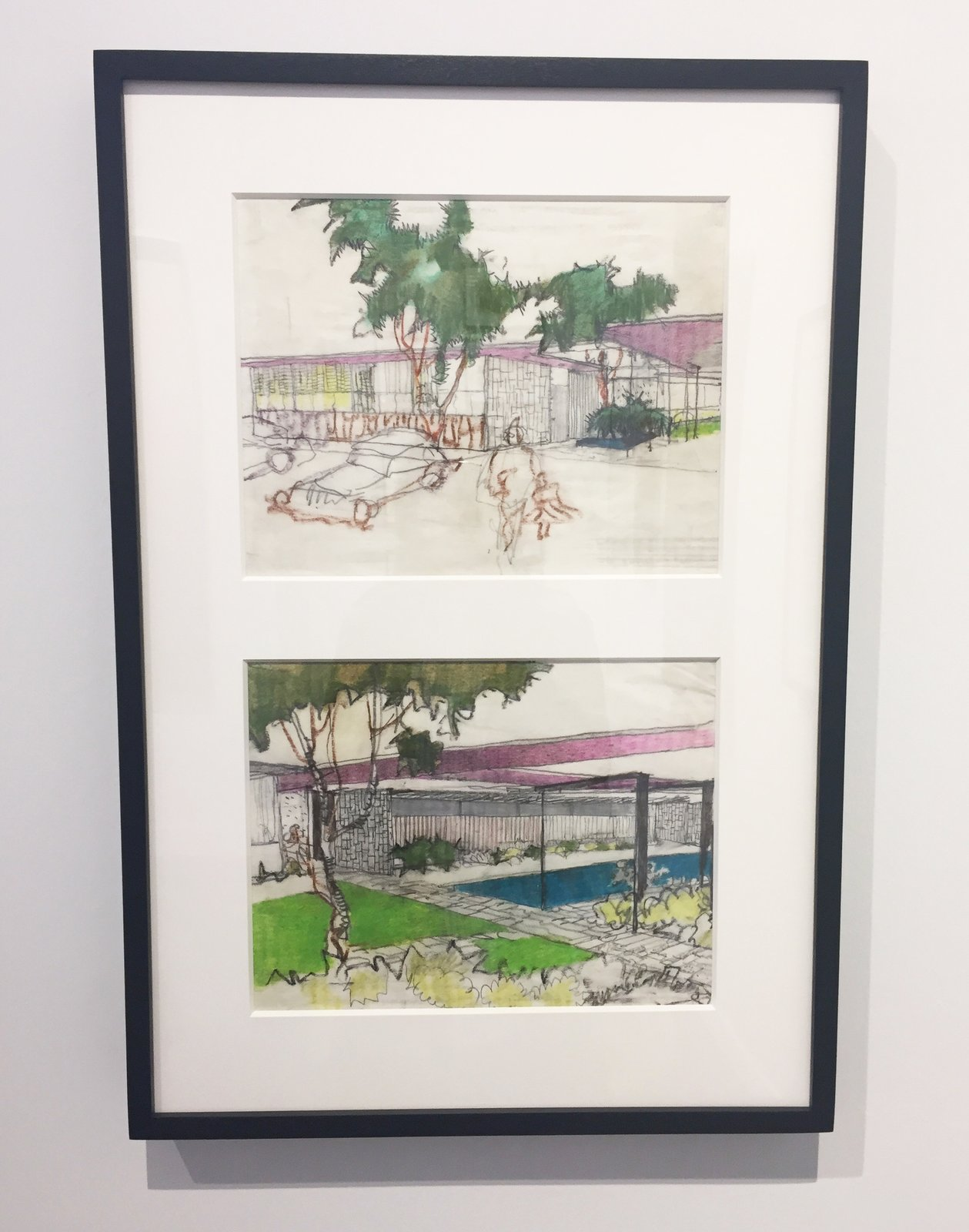 Edward Cella Art & Architecture from Los Angeles deals a collection of architectural illustrations by iconic architect Richard Neutra. Shown here is a pair of 1963 elevation drawings down with pastel on paper. It shows the Mariners Medical Art Center in Newport, California.