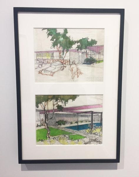 Edward Cella Art & Architecture from Los Angeles deals a collection of architectural illustrations by iconic architect Richard Neutra. Shown here is a pair of elevation drawings he created in 1963 with pastel on paper. It shows the Mariners Medical Art Center in Newport, California.