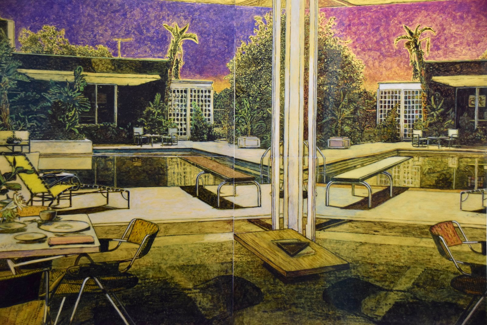 "The San Francisco-based Hosfelt Gallery presented an impressive collection of architectural illustrations by German artist Stefan Kürten. Shown here is Mirage, made with acrylic and ink on paper in 2016. Kürten is known for depicting environments we create in order to craft a ""perfect life."" This often results in midcentury homes, bungalows, and resorts that used to promise prosperity in the post-World War II environment—though they each image contains hidden details that hint at decay or disaster.  Photo 2 of 11 in Follow Us Through San Francisco's FOG Design & Art Fair"
