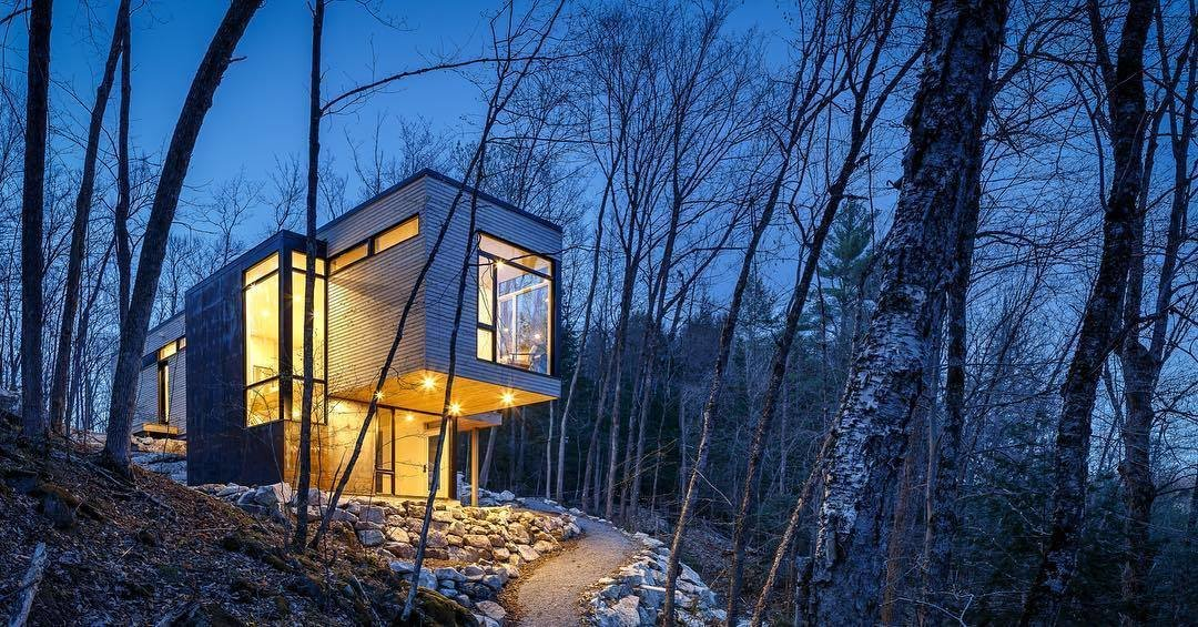 Photo 1 of 4 in This Cedar-Wrapped Cabin Mimics its Natural Surroundings With Ease