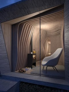 A Design Competition Unveils a Pop-Up Hotel Concept That's Soon to Hit the Welsh Countryside - Photo 1 of 8 - Shown here is the interior of Arthur's Cave, one of the winning designs that's also shown in the image above. The concept was designed by Miller Kendrick Architects.