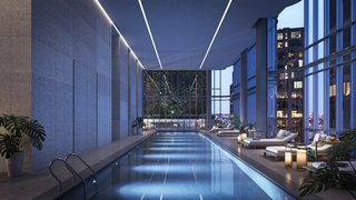 A 55-foot saltwater lap pool will be found inside the residences, along with 17,000 square feet of other amenities including a fitness center, yoga studio, media room, outdoor terrace, children's playroom, and sauna and steam room facilities.