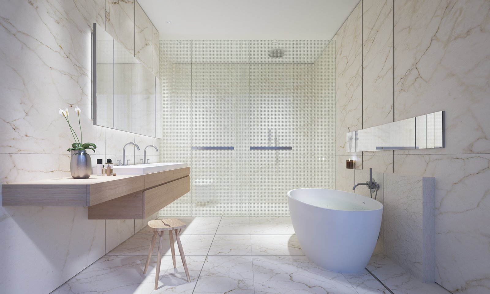 The master bathrooms will line the perimeter glass walls, which will ensure breathtaking skyline views. They'll host Calacatta caldia marble slabs, freestanding tubs, heated floors, and custom-designed white oak vanities.