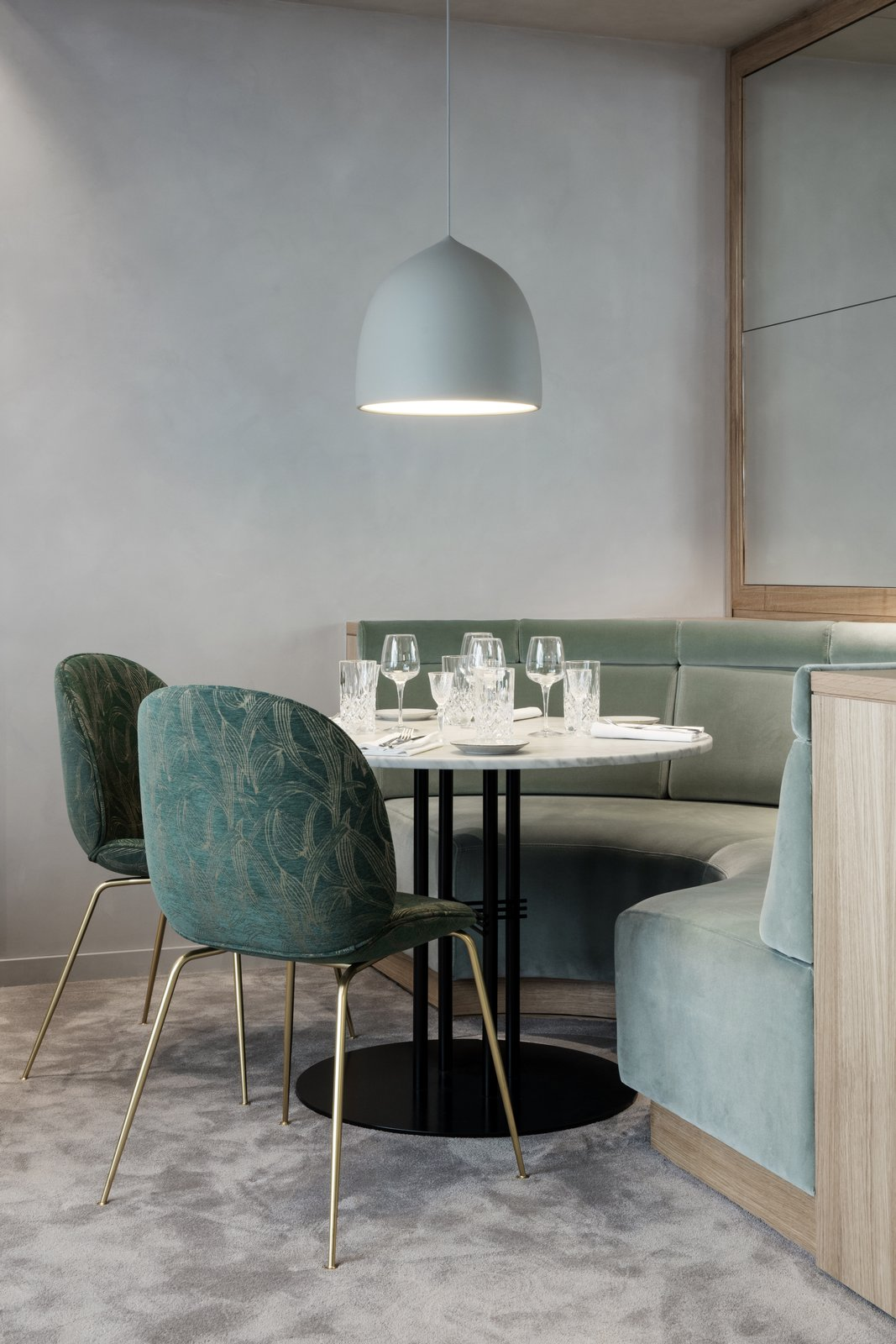 GUBI's Beetle Chairs are used throughout the space in various textiles that represent a Nordic approach with Art Deco influences.  Photo 5 of 10 in The Revived Maison du Danemark Brings Two New Danish Restaurants to Paris