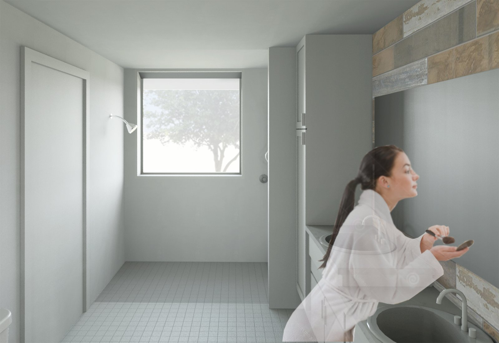 The bathroom was designed with an open layout to provide enough space for someone in a wheelchair to operate comfortably.