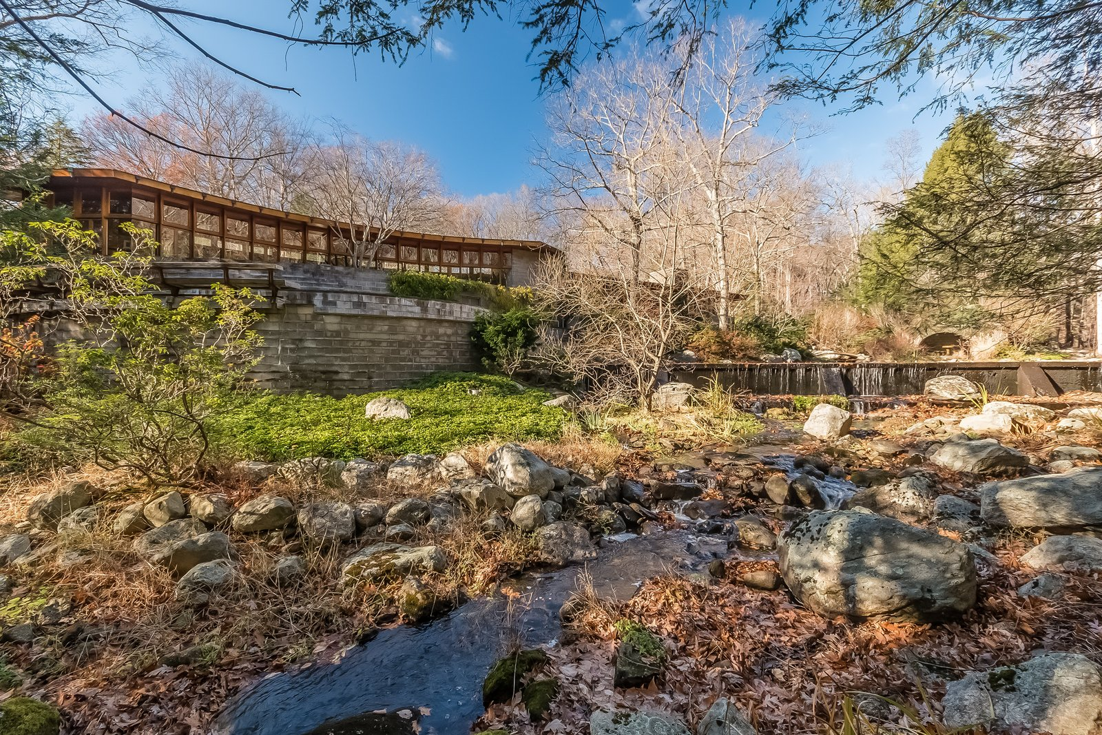 """Similar to his Falling Waters masterpiece, Tirranna was built on water and next to a waterfall. In fact, the word itself comes from an Aboriginal word meaning """"running waters."""" Frank Lloyd Wright's Last Major Residential Masterpiece Could Be Yours for $8 Million - Photo 10 of 11"""