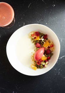 A Modern Mountain Lodge That Will Make You Love Winter Like Never Before - Photo 11 of 13 - The restaurant team sources ingredients from the Hudson Valley as much as possible, while creating shareable dishes that celebrate eccentricity. Shown here is their Chamomile Panna Cotta.