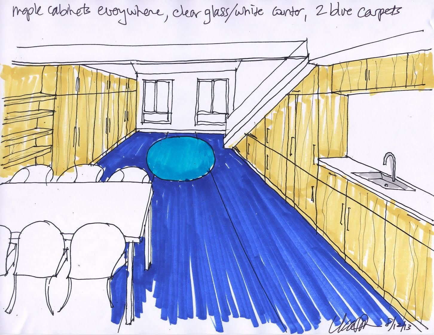 Shown here is a sketch that Simon created at the beginning stages of the project. It shows how she planned to combine the living, dining, and kitchen areas into one long and lean space. Bright Colors and Sleek White Oak Fill This Playful Lake Tahoe Loft - Photo 3 of 10