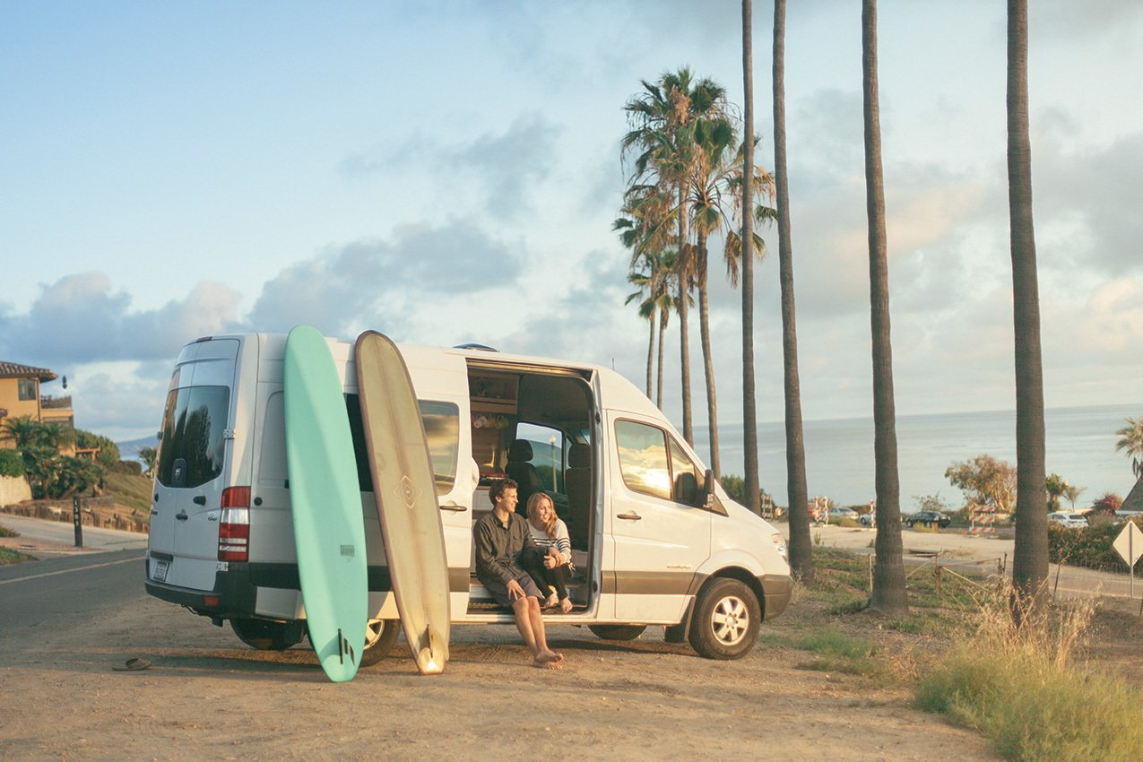 Janna Irons (a writer, brand strategist, and member of the royal Irons family) and Johnny Stifter (a writer, editor, and producer) recently dropped everything, downsized, and kicked off a cross-country adventure in a newly-converted Dodge Springer van.