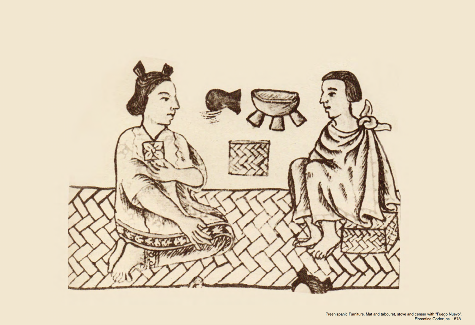 This illustration from 1578 depicts how the tabourets were used in Aztec society. We were told that the type of seagrass seat that you used represented your position in society. Produced with the same woven technique, there will be 20 pieces available each month and can be purchased through Luteca by the end of May.