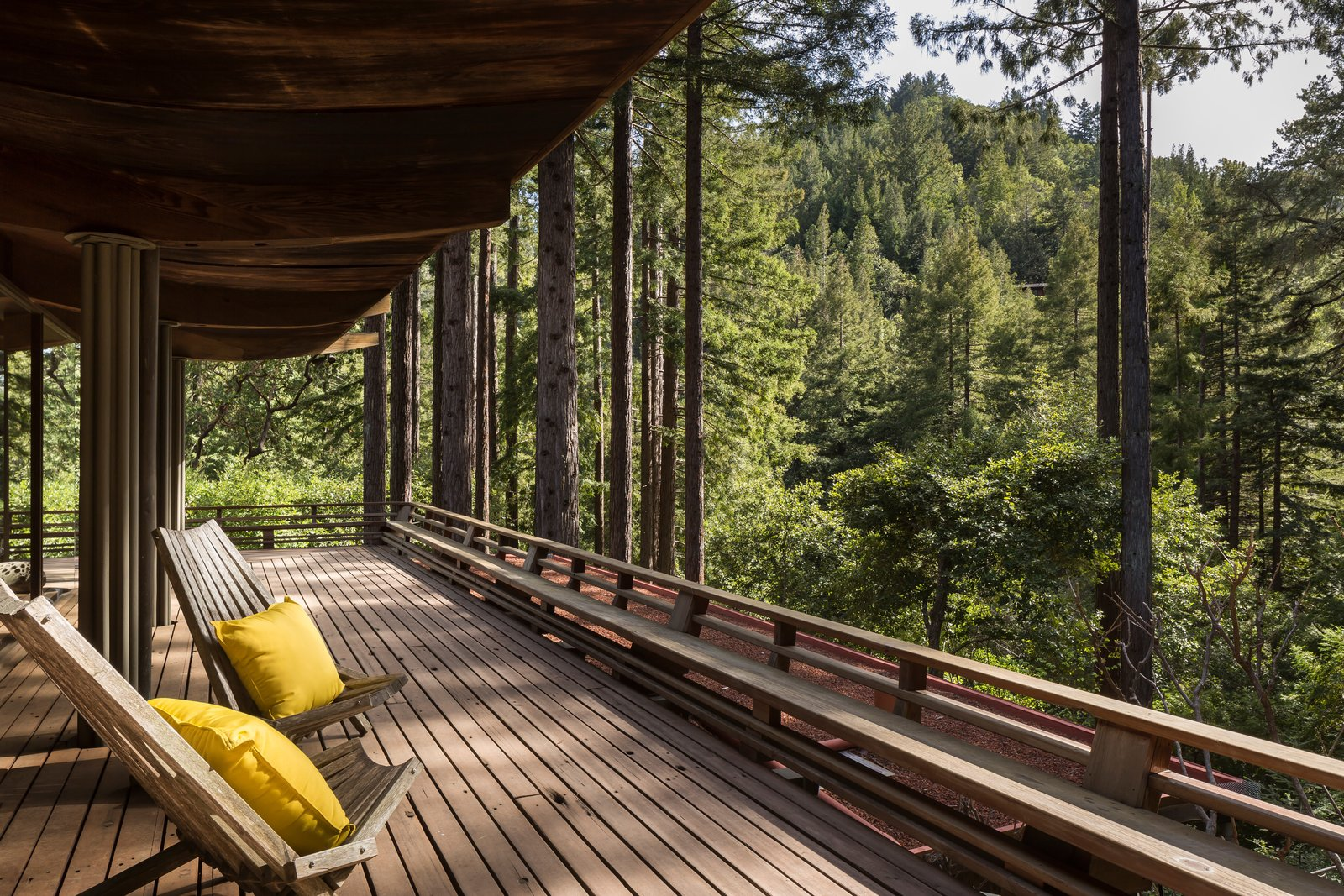"""The house sits on 1.25 acres of land and has a deck that connects the interiors with the outdoors throughout the property. Little points out, """"Some of the old-growth redwood he used has up to 25 growth rings in a single inch!"""" The Midcentury Home That Daniel Liebermann Built For His Parents Asks $2.8 Million - Photo 17 of 17"""