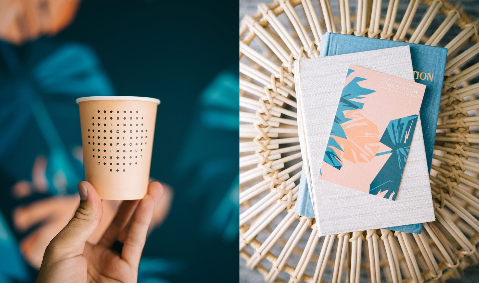 Shown here is a few of the details dreamed up by OMFGCO, including the custom paper cups served at the coffee shop and the monstera pattern they created for the project.