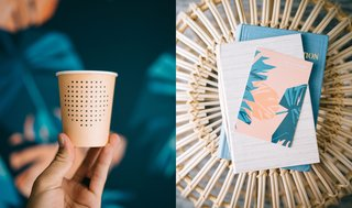 Waikiki's Midcentury Revival Continues to Flourish With a New Jet Set-Inspired Hotel - Photo 15 of 17 - Shown here are a few of the details dreamed up by OMFGCO, including custom paper cups that are served at the coffee shop and the modern floral pattern they created for the guest room walls.