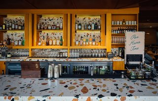 The Hideout bar features a Marmoreal countertop, which consists of an engineered marble that was developed collaboratively between dzek and British designer Max Lamb.