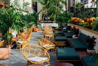 Throughout the hotel, the designers sourced a mix of new, custom, and vintage furnishings. The outdoor spaces include furniture by Kettal, custom cabanas, and lounge chairs inspired by the Locus Solus collection.