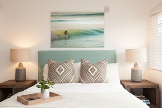 A New Modern Hotel in San Diego Offers Surfing Adventures and Local Hospitality - Photo 6 of 10 - The rooms are furnished with comfortable, contemporary, and beachy textiles, as well as artwork by local artists including Andy Davis, Daniella Manini, and Billy Watts. This piece above the bed is actually by Elisabet Harth, Nikki and Sander's mother.
