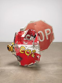 Robert Rauschenberg At Tate Modern In London - Photo 4 of 4 - Stop Side Early Winter Glut, 1987 – Riveted metal road signs, car parts, and gas station signs 109.9 x 116.8 x 86.4 cm