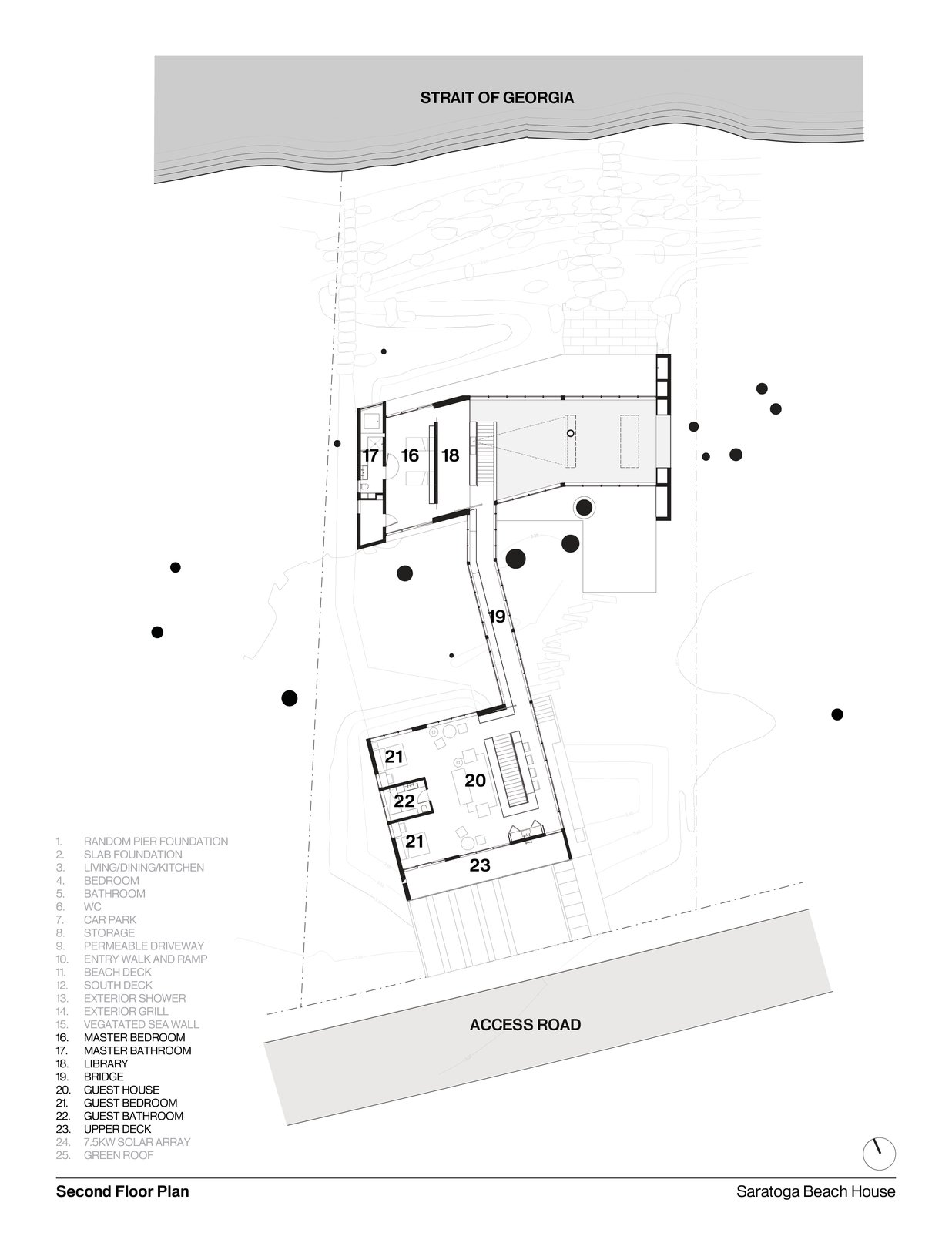 Second Floor Plan   #residentialarchitecture #residence #interstice #floorplan #intersticearchitects   TreeHugger by INTERSTICE Architects