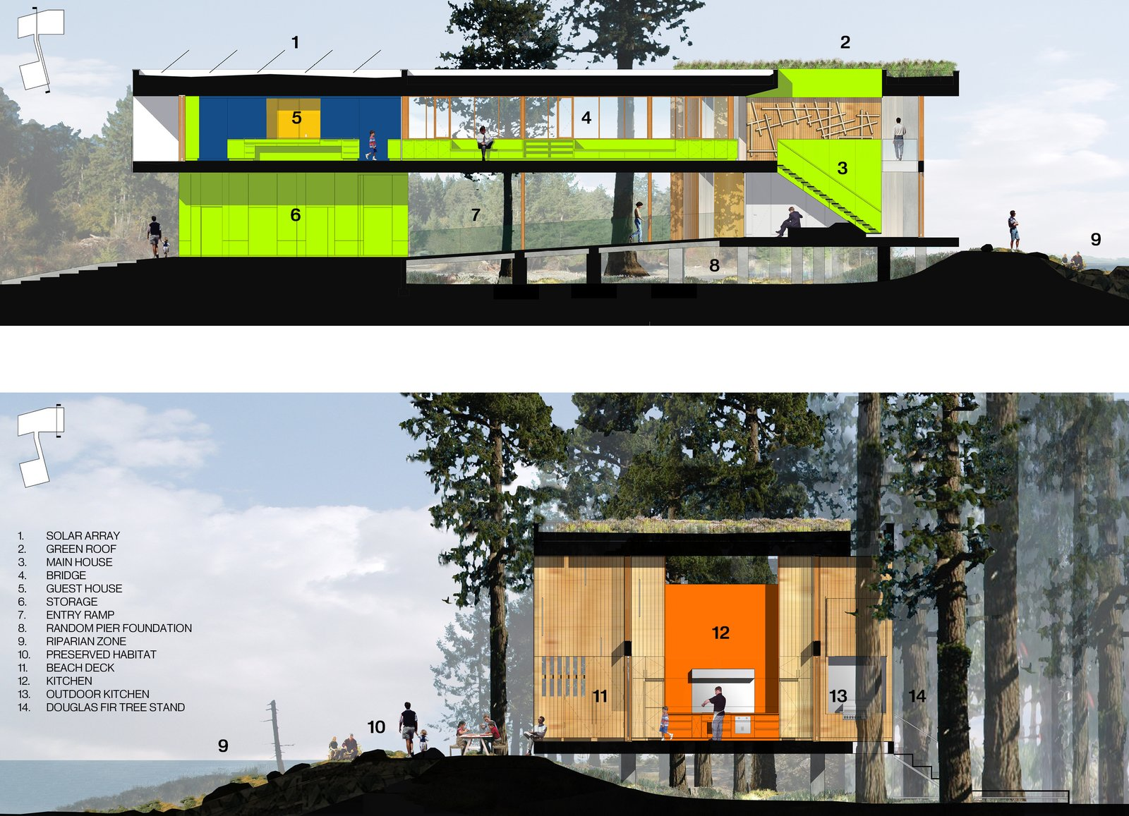 The dwelling acts as two organically interconnected frames, one mineral and one of wood which float above a virtually undisturbed site between one of the world's richest marine tidal ecosystems in the northeast - a wetland preserve to the southwest. The two buildings hover over the site connected by a hald enclosed bridge   #rendering #sections #beachhouse #interstice #intersticearchitects.com #nature   TreeHugger by INTERSTICE Architects