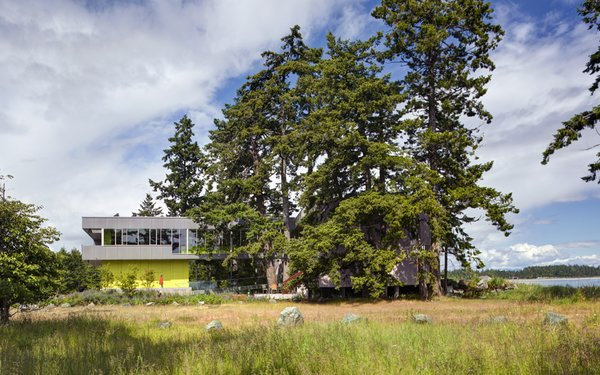 Preserving these majestic trees and pristine coast became a departure point for the siting strategy and formal language of the house and landscape. The main house is clad in the local Douglas fir with deep protective eaves. In contrast, the elevated guest house in mineral in nature poetically connected to the land.   #beachhouse #nature #trees #douglasfir #siting #preservation #landscape #residentialarchitecture #residential #interstice #intersticearchitects #comox #britishcolumbia #vancouverislands #bradlaughton #bradlaughtonphotography  Photo 5 of TreeHugger modern home