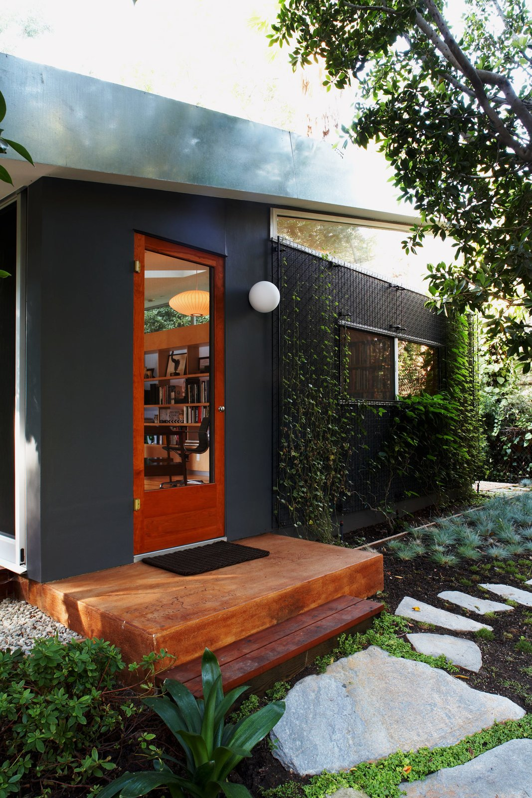 #LushHouse #modern #midcentury #hillside #seclusion #lighting #exterior #outside #landscape #plants #trees #pathway #door #wood #step #windows #detail #BeverlyHills #KingsleyStephensonArchitecture  Lush House by Kingsley Stephenson Architecture