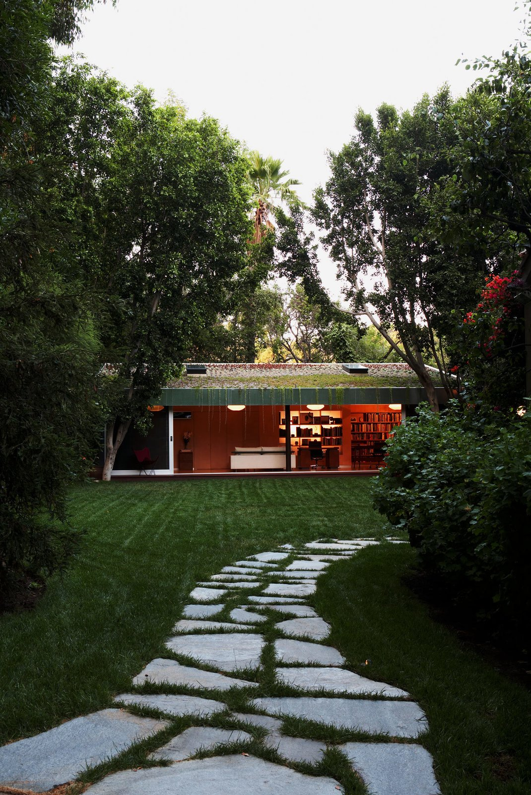 #LushHouse #modern #midcentury #hillside #seclusion #lighting #exterior #outside #landscape #pathway #plants #trees #BeverlyHills #KingsleyStephensonArchitecture