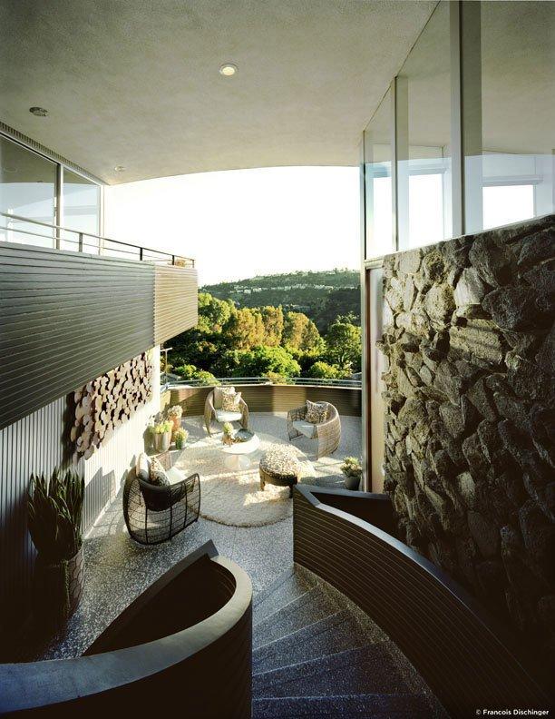 #GarciaHouse #modern #midcentury #hillside #1962 #JohnLautner #geometry #exterior #outside #levels #staircase #views #landscape #green #interior #stone #seating #dynamic #LosAngeles #MarmolRadziner
