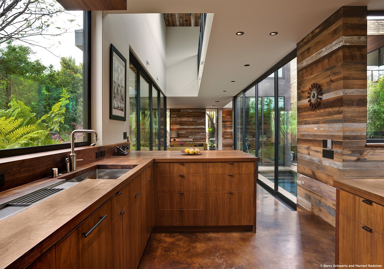 #SelaResidence #modern #midcentury #privacy #openness #two-story #lighting #interior #inside #kitchen #appliances #storage #windows #glass #wood #panels #Venice #California #MarmolRadziner  Sela Residence by Marmol Radziner