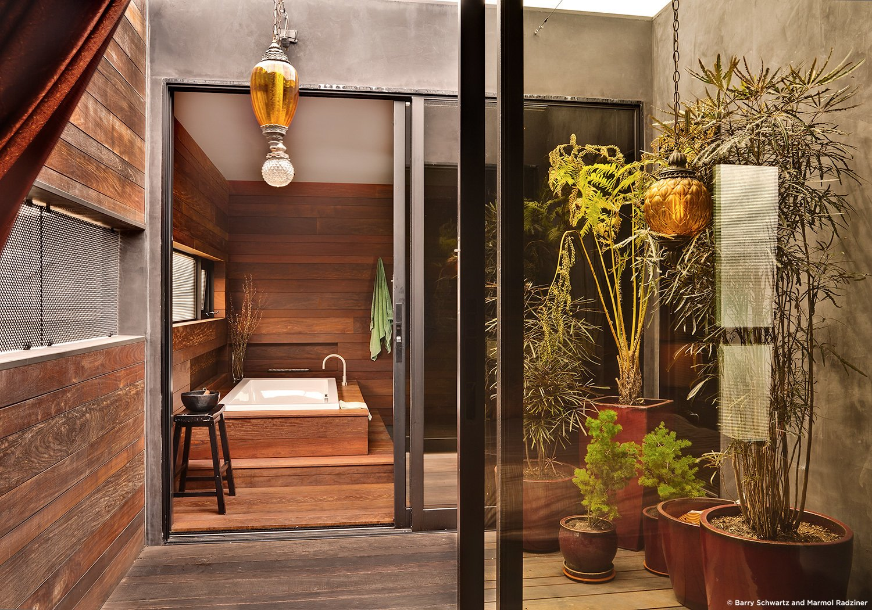 #SelaResidence #modern #midcentury #privacy #openness #two-story #lighting #interior #inside #bathroom #windows #glass #bathtub #exterior #outside #wood #panels #Venice #California #MarmolRadziner  Sela Residence by Marmol Radziner