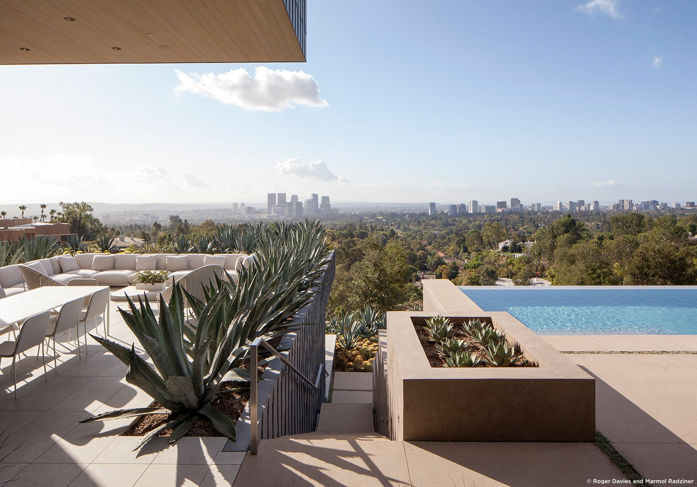 #SummitridgeResidence #modern #midcentury #levels #exterior #outside #outdoor #landscape #green #geometry #pool #view #seating #deck #structure #BeverlyHills #MarmolRadziner  Summitridge Residence by Marmol Radziner