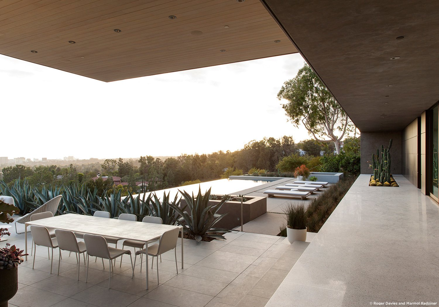 #SummitridgeResidence #modern #midcentury #levels #exterior #outside #outdoor #landscape #green #geometry #pool #view #seating #table #deck #structure #BeverlyHills #MarmolRadziner  Summitridge Residence by Marmol Radziner