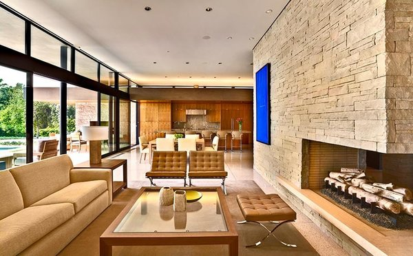 Modern home with living room. Photo 3 of Trousdale Residence