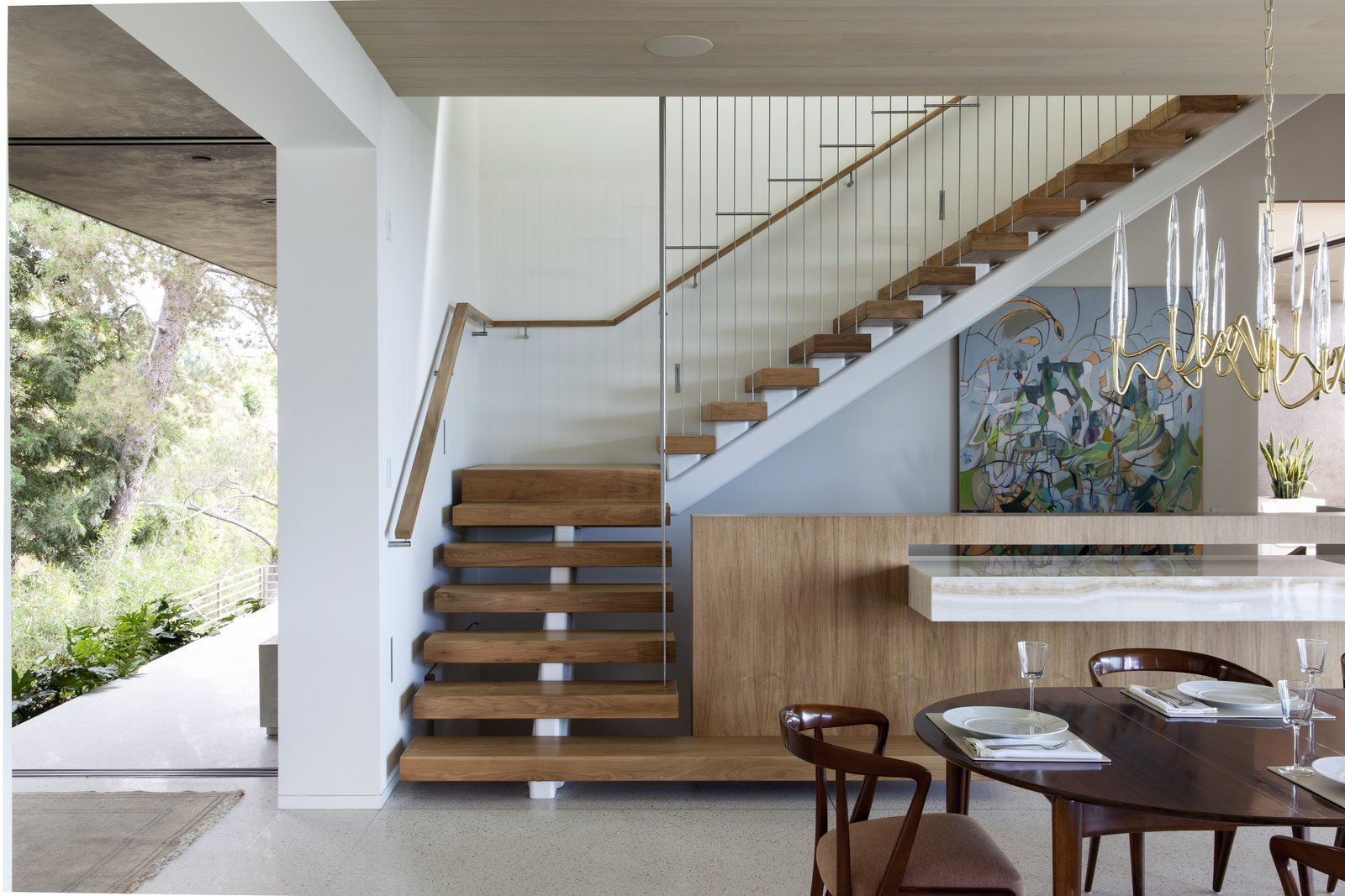 Tagged: Chair, Pendant Lighting, Staircase, Wood Tread, and Wood Railing. Summitridge by Marmol Radziner