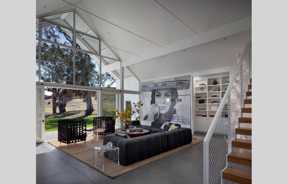 #TurnbullGriffinHaesloop #homestead #inside #indoor #interior #stairs #livingroom  Hupomone Ranch by Turnbull Griffin Haesloop Architects