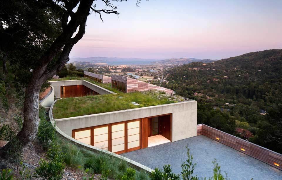 #TurnbullGriffinHaesloop #outdoor #outside #exterior #landscape #garage  Kentfield Residence by Turnbull Griffin Haesloop Architects