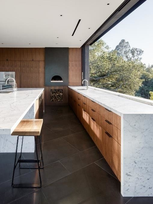 #WalkerWorkshop #interior #indoor #inside #kitchen #marble   Oak Pass Main House by Walker Workshop