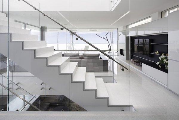 #danbrunn #flipflop #beachfront #residence #venice #california #glass #livingroom #stairs #windows #interior  Photo 19 of Flip Flop Residence modern home