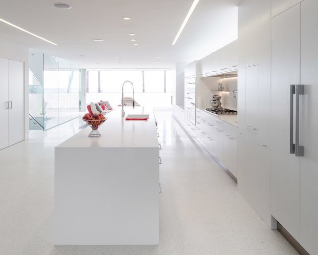 #danbrunn #zigzag #residence #beachfront #venice #california #glass #windows #kitchen #interior  Zig Zag Residence by DBArchitecture